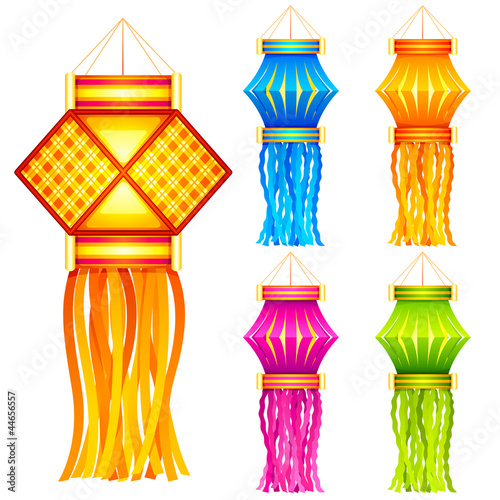 vector illustration of colorful diwali hanging lantern