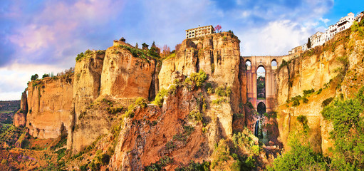 Panoramic view of the city of Ronda at sunset, Andalusia, Spain