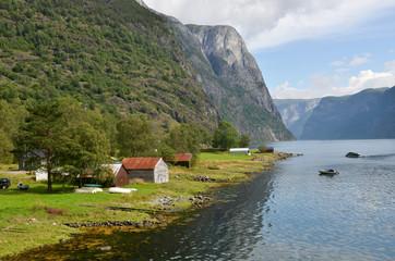 Dans le fjord Naeroyfjord en Norvège