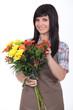 Young brunette florist