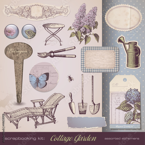 scrapbooking kit: Cottage Garden - retro design elements