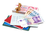 Money  Renminbi  and passbook poster