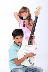 portrait of children with music instruments