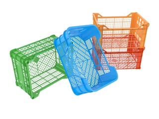 Plastic crates. 3D isolated