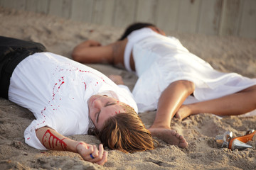 Murder victims on the sand