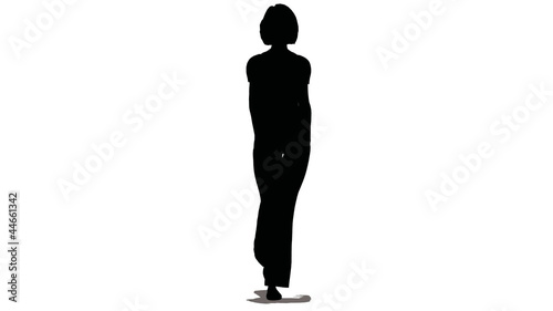 Silhouette of woman-model of black color go on white