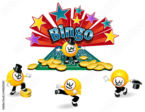 Bingo Ball Cartoon character with different active poses