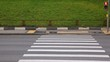 On pedestrian crossing men and cars go