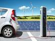 Leinwanddruck Bild - E-Car mit Solartankstelle und Windkraft