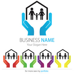 Company (Business) Logo Design, Vector, Heart, House, Family
