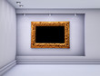 3d niche with spotlights and empty picture frame