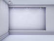 3d empty niche with spotlights for exhibit in the grey interior.