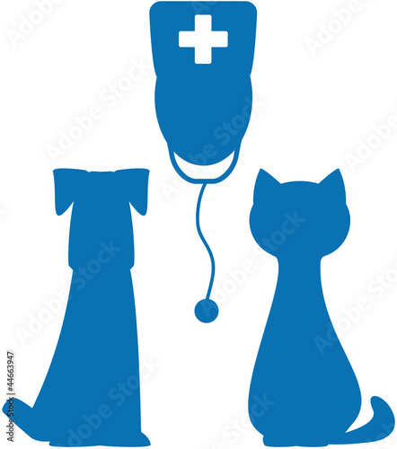 symbol of veterinary medicine with doctor, dog and cat