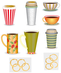 Set of coffee cups, 3D. Coffee in different cups.