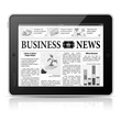 Concept - Digital News. Tablet PC with Business News on Screen