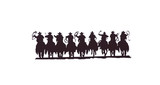 Buckaroos - cowboys with lariats galloping on their horses