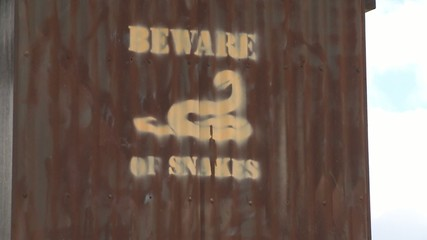 Beware of Snakes Sign at the John Edmondson Rest Area