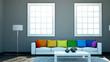 Wohndseign - Sofa mit Regenbogenkissen