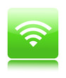 Green glossy wireless of wifi button sign
