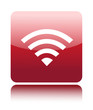 Red glossy wireless or wifi button sign