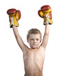 cute little boy with boxing gloves isolated on white