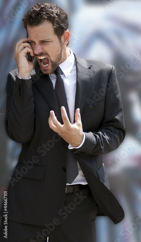 angry man screaming on the phone