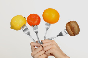 fruit on a fork