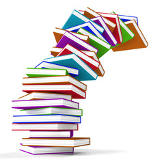 Stack Of Colorful Falling Books Representing Learning And Educat