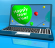 Laptop Computer With Happy New Year Message