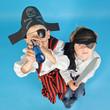Leinwanddruck Bild - zwei kleine Piraten