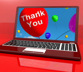 Thank You Balloon On Computer As Online Thanks Message