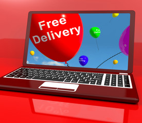 Free Delivery Balloons On Computer Showing No Charge Or Gratis T