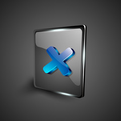 Glossy 3D web 2.0 cross mark validation symbol icon set. EPS 10.