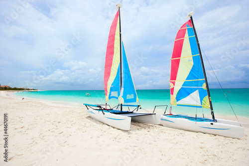 Catamarans at tropical beach