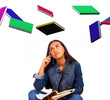 Young Student Looks At Books Flying
