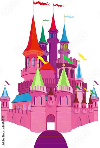 Foto op Aluminium Kasteel Fairy-tale Pink Castle