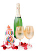 champagne and decorations isolated