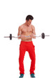 Ripped young man lifting a barbell