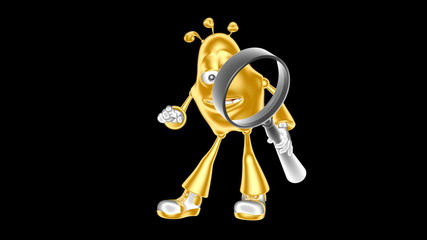 Funny golden mr. Multic looking through a magnifying glass