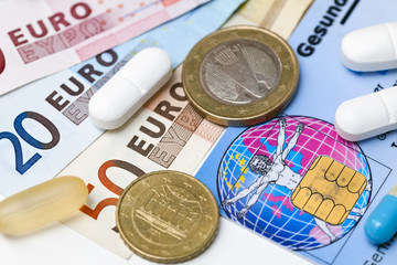 Geld, Krankenkassenkarte, Krankenkassenbeitrag