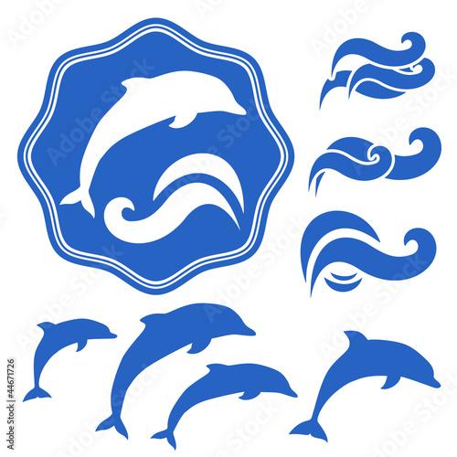 剪影创意动物哺乳动物图形图标壁纸对象插图摘要水下波泽海海洋游泳