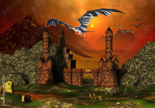 Deurstickers Draken Fantasy Scene With A Castle And Dragons