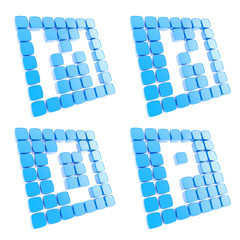 Abc letter symbol plates made of blue cubes isolated