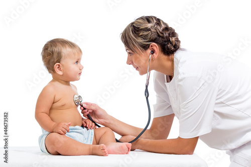 smiling doctor examining baby isolated on white background