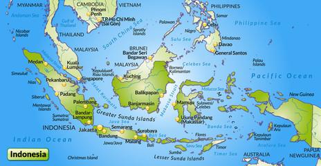 Landkarte von Indonesien mit Hauptstädten und Nachbarländern