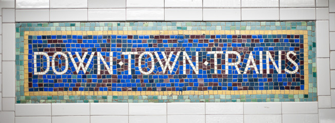 New York city subway sign tile pattern in midtown Manhattan