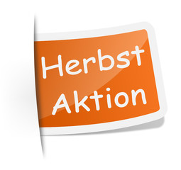 Schild Label Herbst Aktion