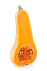 elongated halved pumpkin