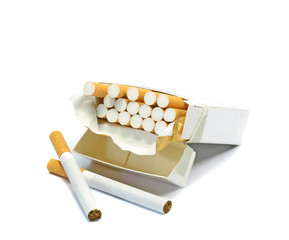 An open box of cigarettes on a white background with copy space