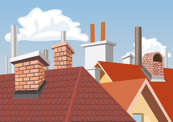Chimneys on the roofs of houses